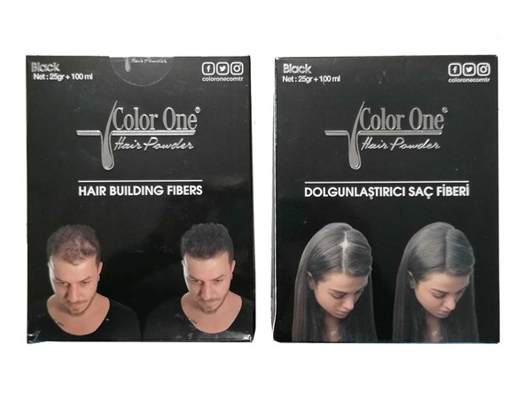 Color One Hair Dolgunlaştırıcı Saç Fiberi Hair Powder Black 25 g +100 ml